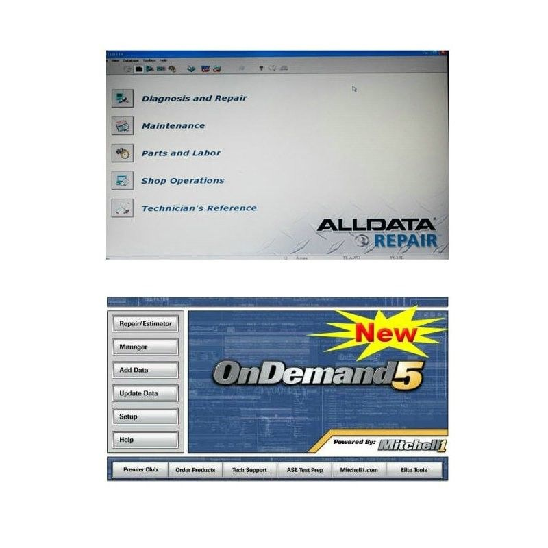 Alldata 10.50 and Mitchell Ondemand5 2 in 1 Automotive Diagnostic Software