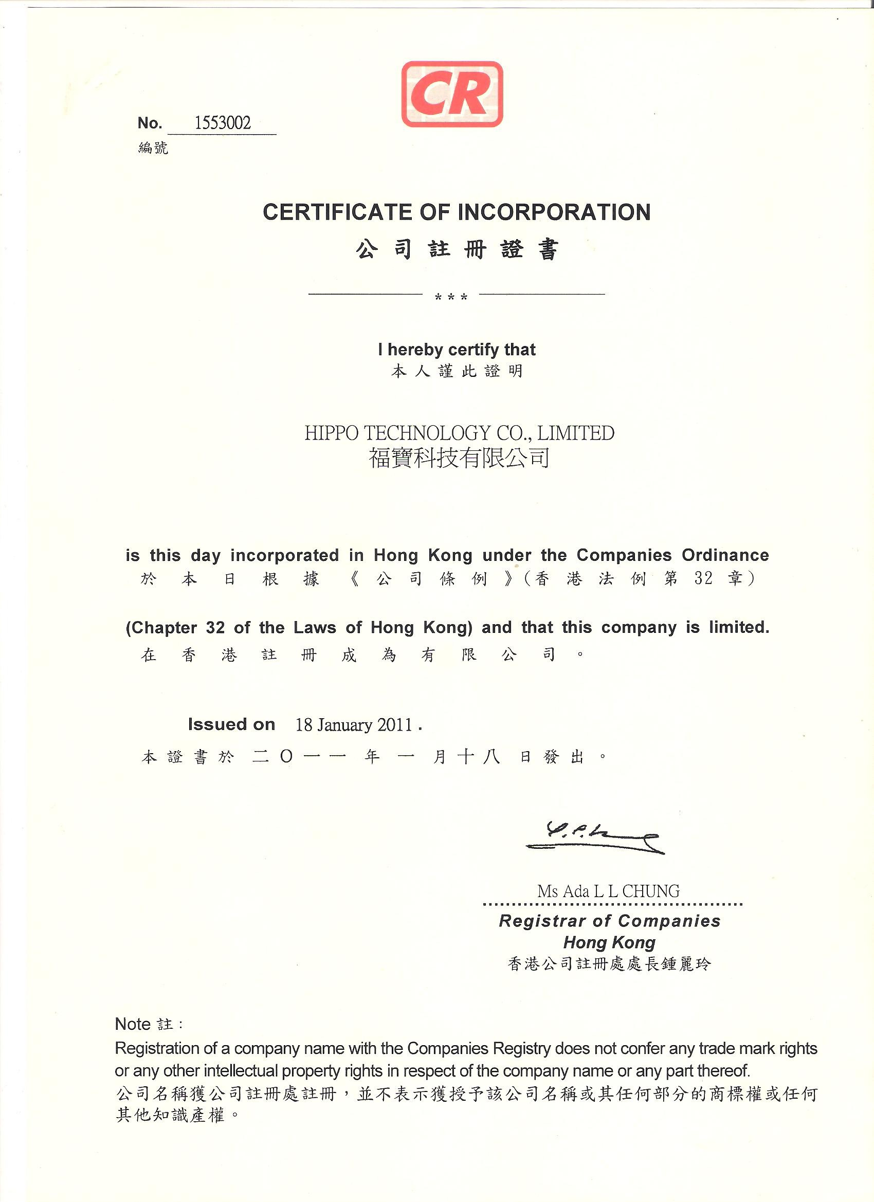 China Hippo Technology Co.,LTD Certificaciones